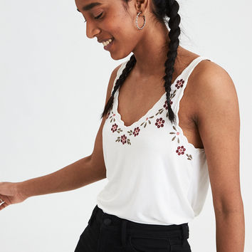 AE Embroidered Scoop Neck Tank Top, Cream