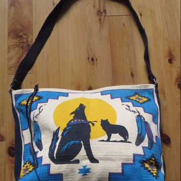 Large Southwestern Howling Wolf Canvas Leather Gym Bag Canvas Tote | Crossbody Native American Ethnic Overnight Bag Handbag Satchel Bag Boho