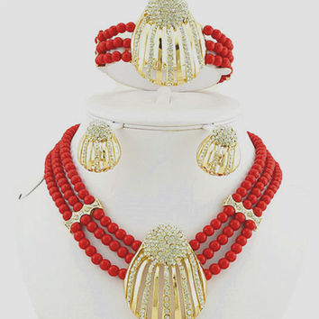 bead jewelry sets african big  jewelry sets for wedding party fashion jewelry necklace