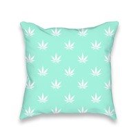 Turquoise Mint Cannabis Print Throw Pillow