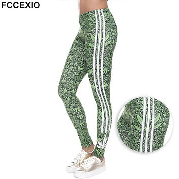 FCCEXIO Fashion Stretch Leggings Weeds White Stripes Printing Fitness legging Sexy Silm legins High Waist Trouser Women Pants