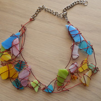 Colorful Handmade Glass Collar