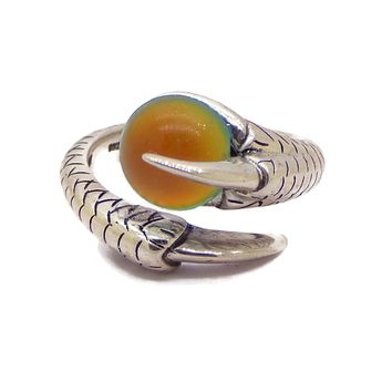 Sterling Silver Dragon Claw Oval Mood Stone Unisex Ring