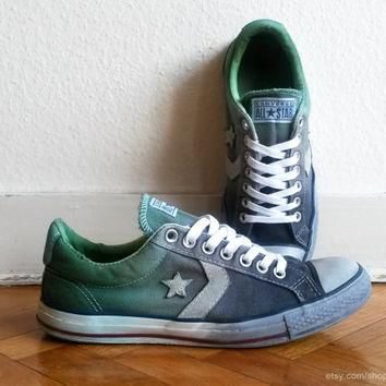 Charcoal & green ombre Converse Star Player low tops, upcycled vintage sneakers, dip d