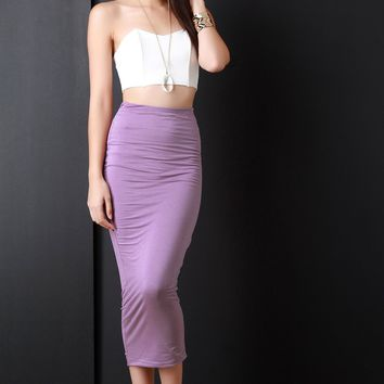 Double Jersey High Waist Maxi Skirt