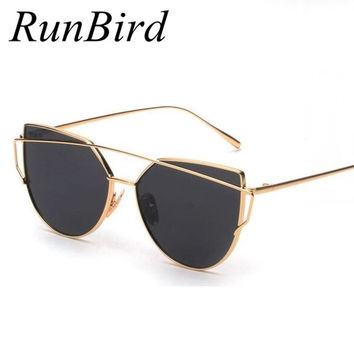2016 Fashion Cat Eye Sunglasses Women Brand Designer Flat Top Mirror Metal Frame Sun Glasses for Women Oculos De Sol UV400 M195