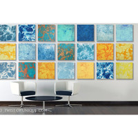 ORIGINAL -ready now- abstract watercolor Painting / Custom 21 square (15 Inch x 15 Inch) / 40 x 120, abstract wall art / Blue, yellow, green