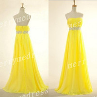 Beads Yellow Ruffled Strapless Long Bridesmaid Celebrity Dress, Floor Length Chiffon Formal Evening Party Prom Dress New Homecoming Dress