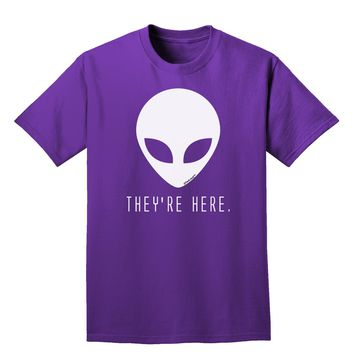 Alien They Are Here Adult Dark T-Shirt