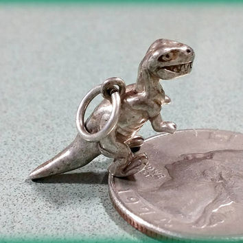 Vintage Sterling Silver Charm Dinosaur Trex T-rex Tyrannosaurus Rex Age of the Dinosaurs Fun Bracelet Charm or Necklace Pendant Fun Gift