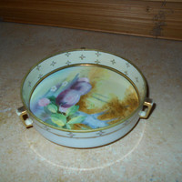 Vintage Nippon Hand Painted Footed Bowl