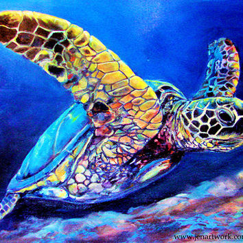 Milton Turtle, Turtle Art by Jen Callahan Tile, Cuttingboard, Canvas, Print