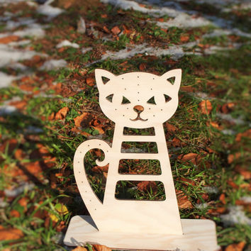 Large Jewelry holder, Cat wooden Jewelry stand, an alternative to a jewelry box