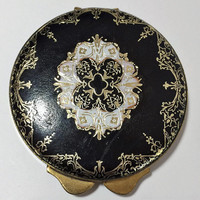 Black Embossed Leather Powder Compact, White Gold Imprinted Design, Mid Century Vintage Purse Boudoir Accessory, Round Compact 718m