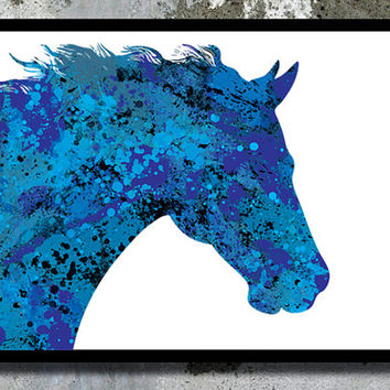 Dark Blue Horse Watercolor Art Print Painting Animal Poster Nursery Boy Room Decor