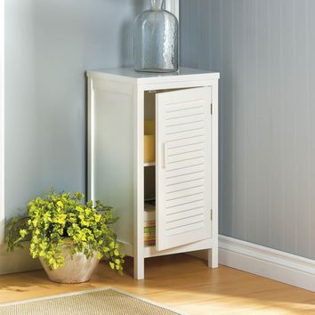 Coastal Living-White Shutter Storage Cabinet Table