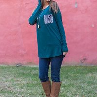 Aztec Pocket Top, Dark Teal