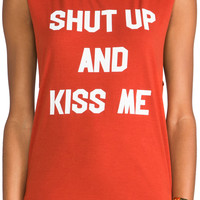 Morning Warrior Shut Up & Kiss Me Muscle Tee in Brick from REVOLVEclothing.com