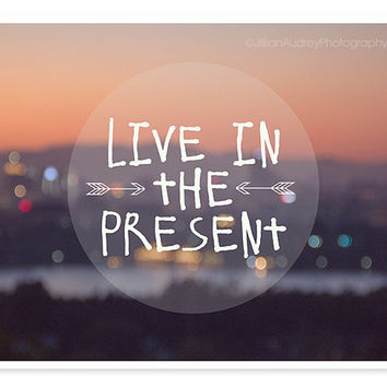 Live in the Present Typography Print / Abstract Photography / Fine Art Photograph / Inspirational Quote Thoreau / Dorm Decor / Purple Sunset