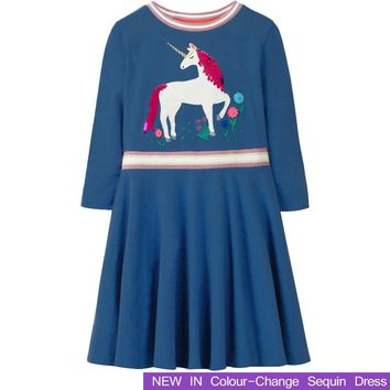 Long Sleeve Girls Dresses With Animal Unicorn Girl Clothing 2018 New Children Costume Kids Princess Clothes 2-10 Year