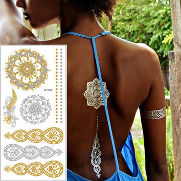 2016 New summer arabic indian designs body painting jewerly metallic gold silver black new henna flash tattoo tatuajes metalicos