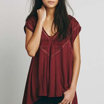 Free People Abigail Tee in Wine