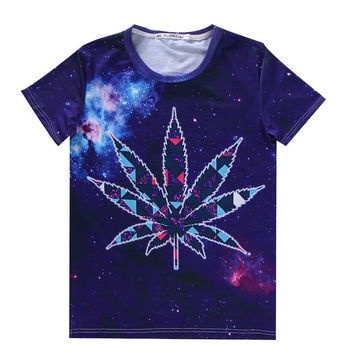 Women Men Weed Leaf Tees 3d galaxy space t shirt summer shirts poleras de mujer