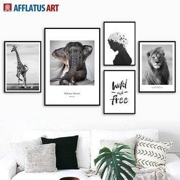 Elephant Giraffe Lion Quotes Landscape Wall Art Canvas Painting Posters And Prints Animals Wall Pictures For Living Room Decor