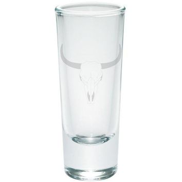 VONEG5F Bull Cow Steer Skull Southwestern Etched Shot Glass Shooter