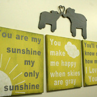 Yellow and Gray Nursery Decor You Are My Sunshine Elephant Nursery Decor Babys Room Decor Distressed Wood Wallhanging Shabby Chic Nursery