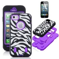 SODIAL(R) ULAK Purple White Zebra Combo Hard Soft High Impact iPhone 5 Armor Case Skin Gel with screen protector