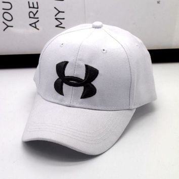 DCCKUNT Fashion Under Armour Enbroidery Baseball Cap Hats- White
