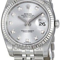 Rolex Datejust Rhodium Diamond Dial 18kt White Gold Fluted Mens Watch 116234RDJ