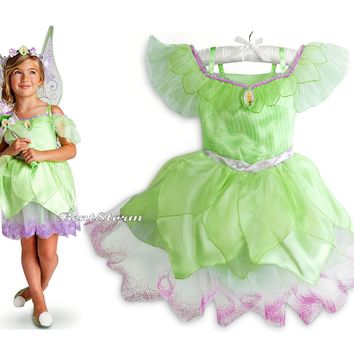 Licensed cool TINKER BELL Girls COSTUME DRESS FAIRY PIXIE GLITTER DISNEY STORE 4 & 7/8 NEW
