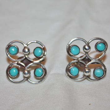 Vintage Sterling Zuni Earrings, Turquoise Native American Earrings, Petit Point Earrings, 1960s Jewelry
