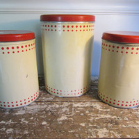 Farmhouse Canisters Metal Canisters Kitchen Storage Rustic Decor Shabby Chic