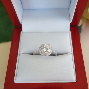 1.5 Carat, Halo Gatsby Engagement Ring, Round 6.5mm Flawless Man Made Diamond Simulants, Wedding Ring, Promise Ring, Bridal, Sterling Silver