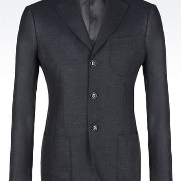 Giorgio Armani Men SINGLE-BREASTED SILK, LINEN AND WOOL BLEND TOKYO JACKET , Virgin Wool - Armani.com