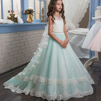 Custom Made Pageant Dress Flower Girl Butterfly O-neck Lace Up Bow Sash First Communion Gown