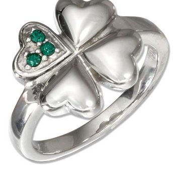 Stainless Steel Four Leaf Heart Clover Ring with Green Cubic Zirconias