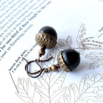 Acorn dangle earrings -  dark brown nut bead with antiqued brass caps