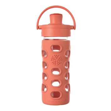 LIFEFACTORY 12 OZ GLASS WATER BOTTLE WITH ACTIVE FLIP CAP AND SILICONE SLEEVE