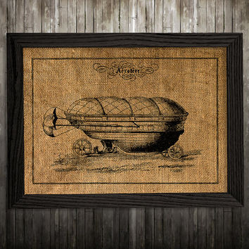 Airship decor Antique print Victorian poster Steampunk print BLP893