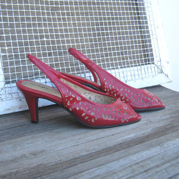Vintage Lipstick Red Slingback Heels; Peep Toes - Size 6 Vintage Red Peekaboo Slingback Heels - Red Cut Out High Heels