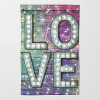 Love is the Light of Your Soul (LOVE lights III) Area & Throw Rug by soaring anchor designs ⚓ | Society6