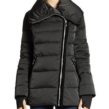 Vera Wang Quilted Asymmetrical Zip Puffer Jacket