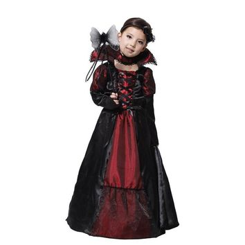 Children Girls Gothic Vampire Purim Festival Costumes for Kids Christmas Princess Cosplay Costume Long Carnival Party Dress