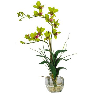 Artificial Flowers -Green Dendrobium With Glass Vase Flower Arrangement Artificial