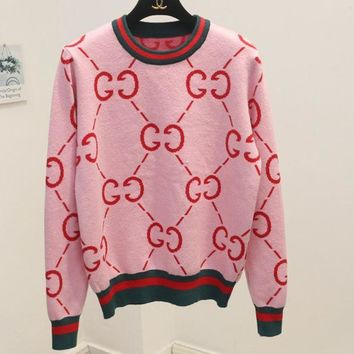 LMFIH3 GUCCI wild sweater women's sweet college wind round neck double g letter sweater Pink