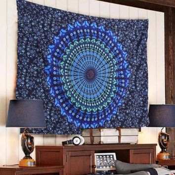 ESBU3C Free Shipping Indian Mandala Tapestry Hippie Wall Hanging Blue Bohemian Bedspread Home Decor